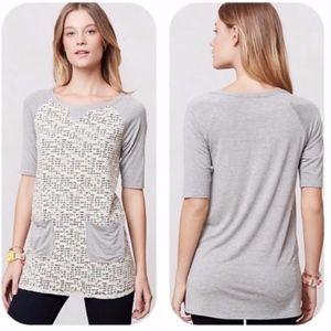 WESTON ~ Medium Mixed Knit Tunic LACE Overlay Gray